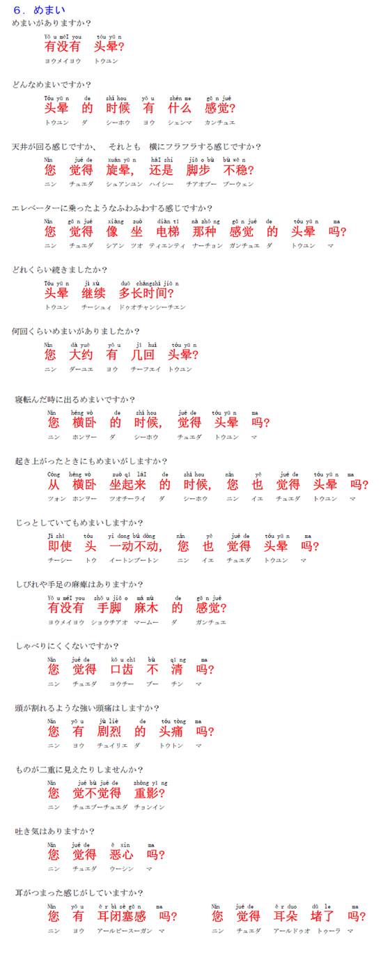中国語 めまいについて 1