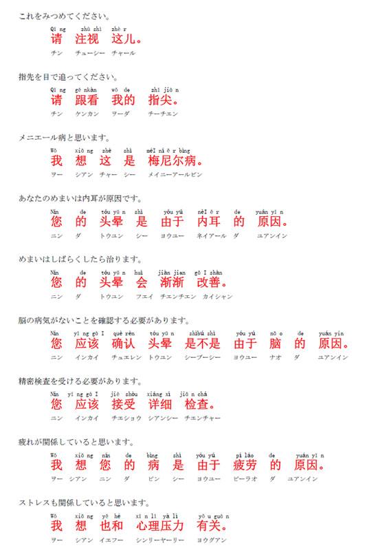中国語 めまいについて 2